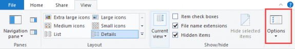 View options in Windows 10