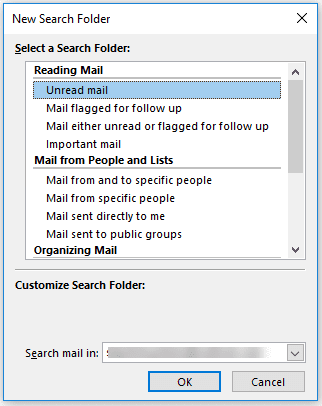 select a search folder template or create a custom search folder