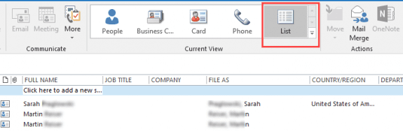 use a list view in outlook