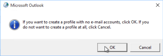 click ok to confirm the no mail profile