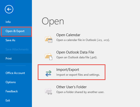 Select File, Open & Import, Impot & Export