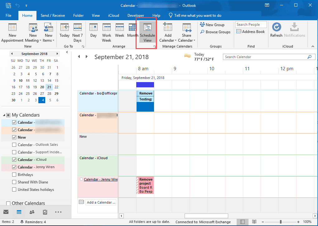 Calendar Overlay and Schedule View