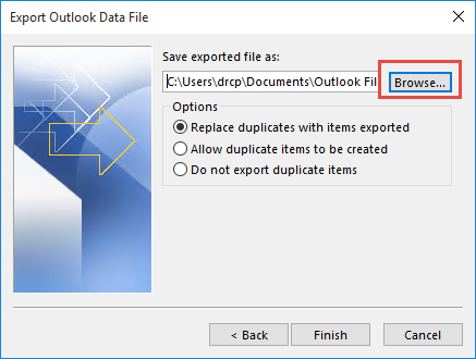 Select the data file to export to
