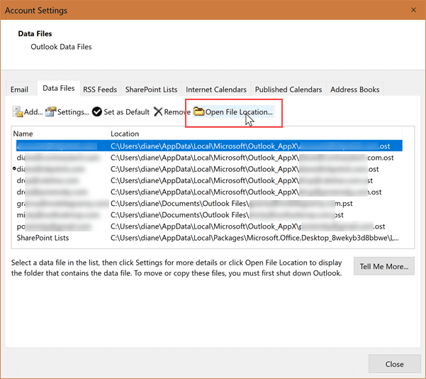 Where is Outlook's PST file?