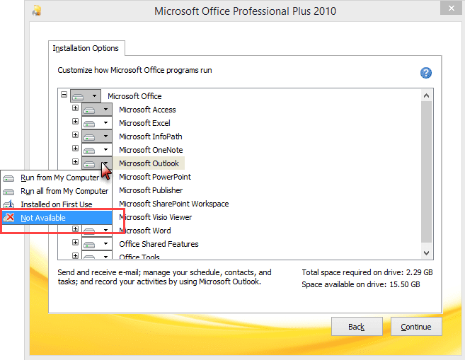 How to Uninstall Outlook from an Office Installation