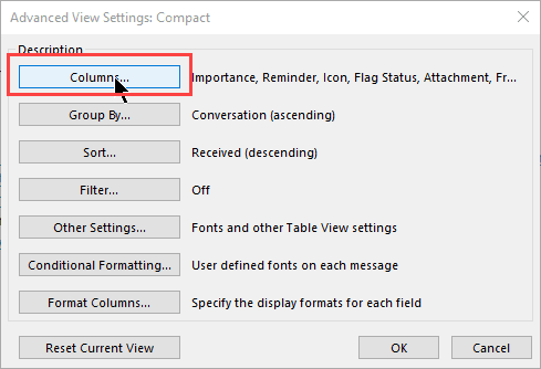 view settings dialog