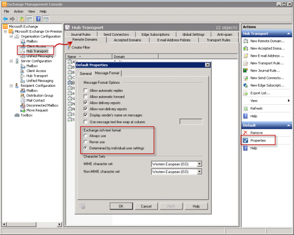 Customize Remote domains in the Exchange Management Console