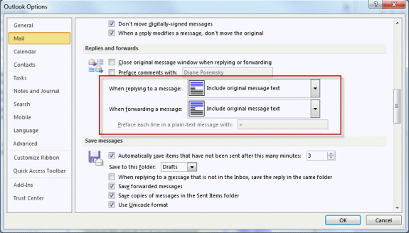 Reply and Forward formats in Outlook's options dialog.