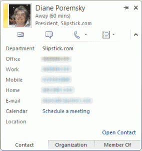 Expanded contact card in Outlook 2010