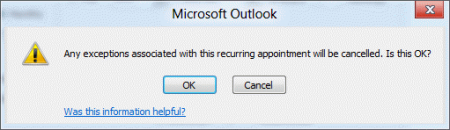 A dialog will warn you that will will lose exceptions