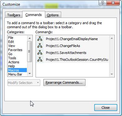 customize toolbar dialog