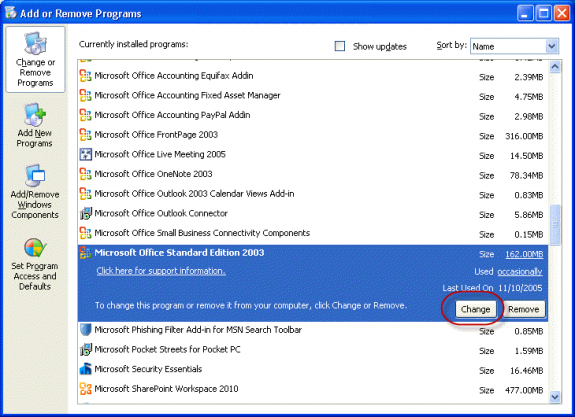Locate Outlook in Add and Remove Programs and choose Change
