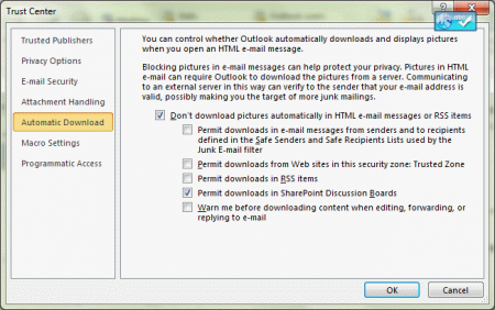 Change Outlook's automatic download settings