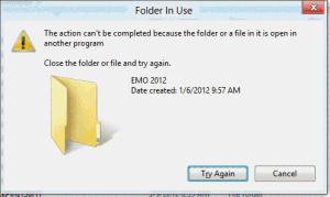 Folder in use error dialog