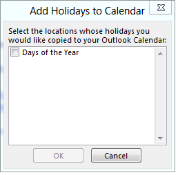 Add holidays to Outlook's calendar