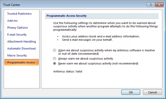Change Outlook's Programmatic Access Options