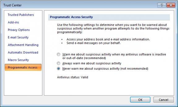 Edit the programmatic access settings