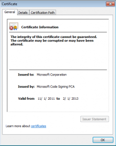 Signed with A corrupt or invalid code signing certificate