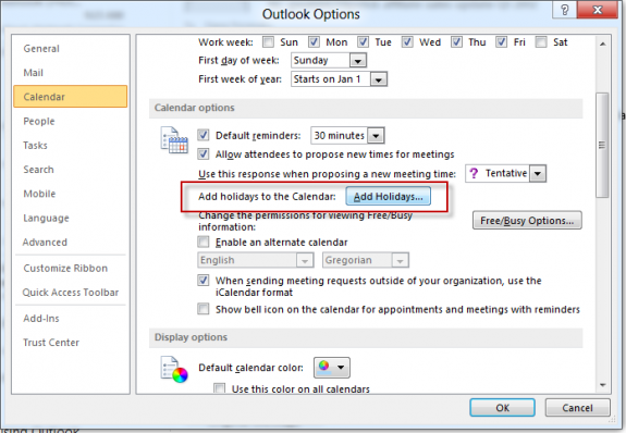 Add Holidays to Outlook's Calendar from the Calendar options dialog