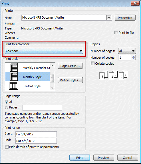 Select the calendar you want to print from the Print Options dialog