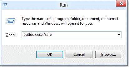 start Outlook in Safe mode
