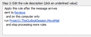 Use a run a script rule to move mail cc'd to someone