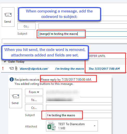 after hitting send, the attachment and fields are added