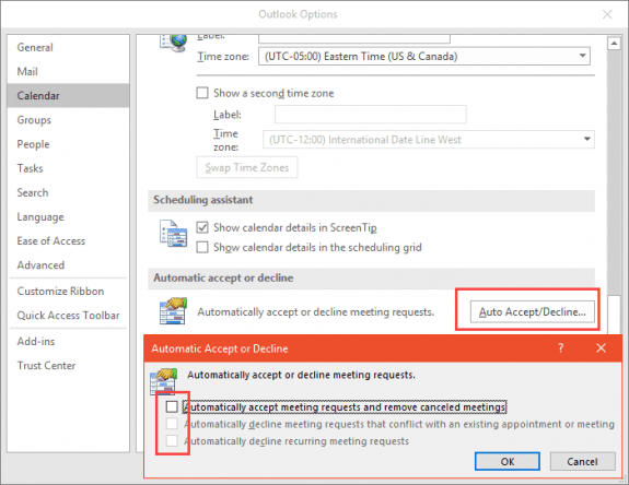 autoaccept meeting options