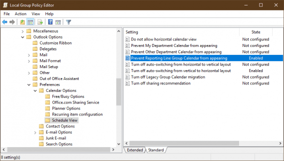 remove team calendars using gpo