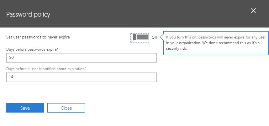 Office365: Set account passwords to never expire