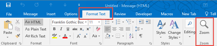Adjusting Outlook's Zoom Setting in Email