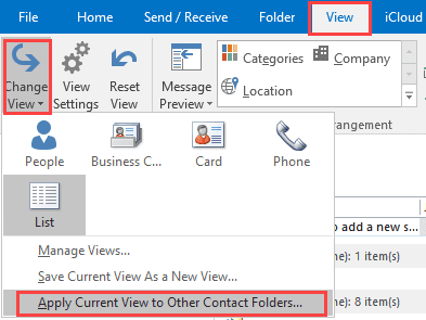apply current view to other contacts