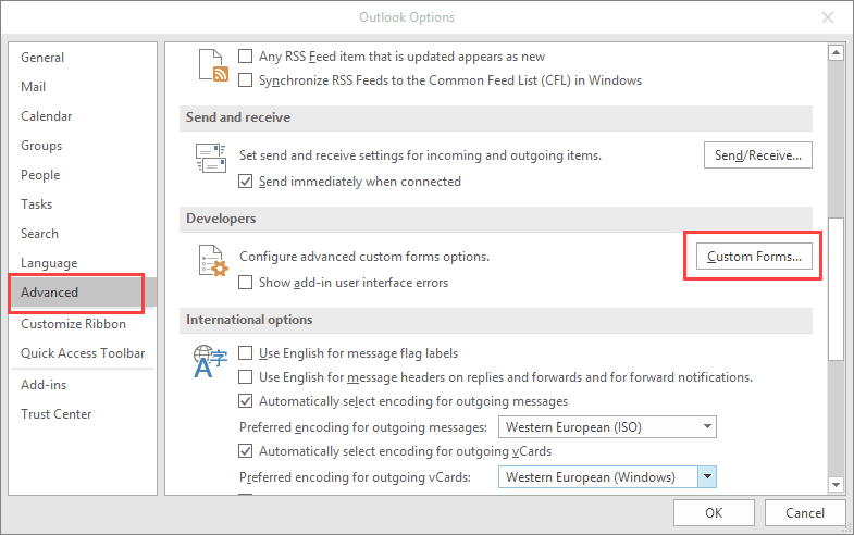 The custom form cannot be opened  Outlook will use an Outlook form