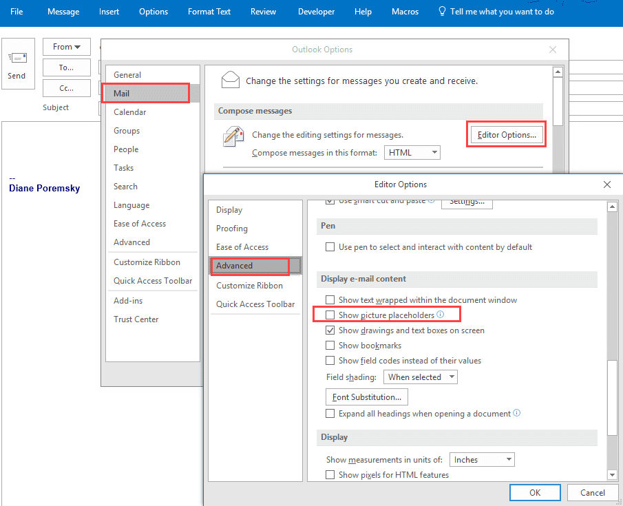 Pictures Don't Display in Outlook Messages