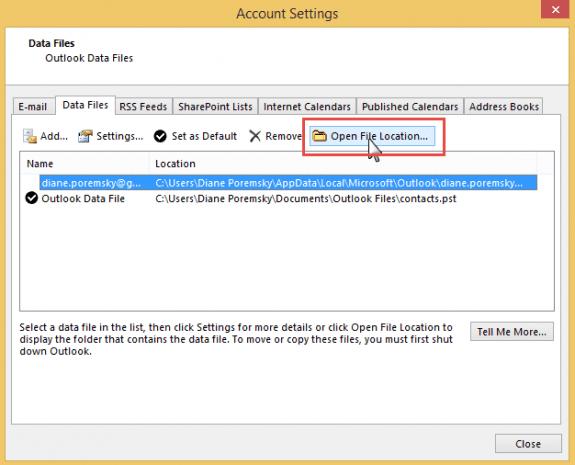 Open the data file location