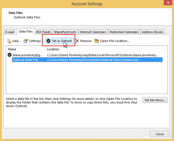 Set the data file as default