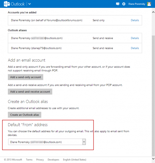 Change default outlook.com address
