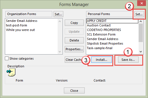 Save and install forms