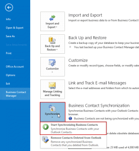 configure BCM to sync with Outlook contacts