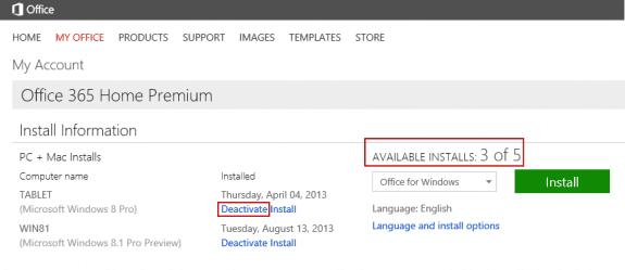 Deactivate Office Home Premium