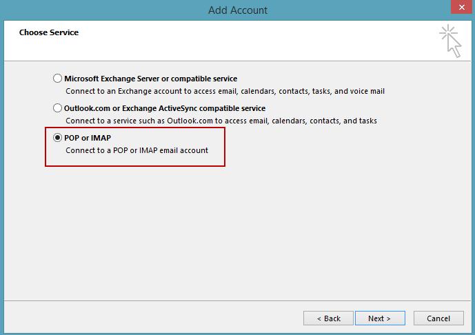 Setting up an Outlook com IMAP account