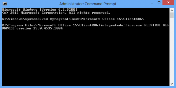 Use the command prompt dialog box to roll back Office installations