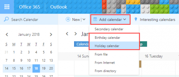 add birthday and holiday calendars