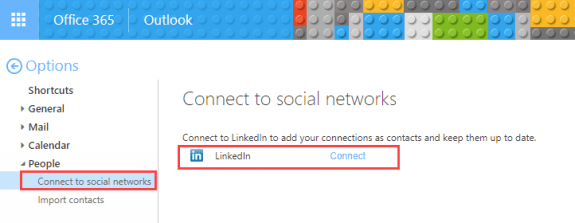 connect linkedin to Office 365 account