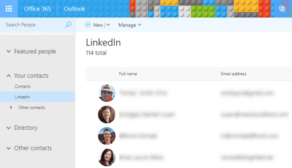 linkedin contacts in office 365