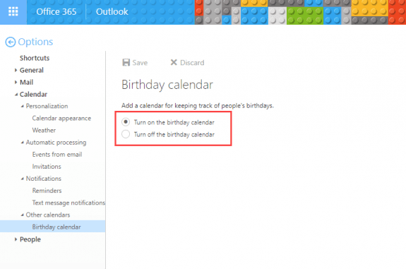 remove the birthday calendar
