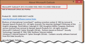 Outlook 2013 SP1 About dialog