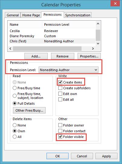 Create items permission on the folder