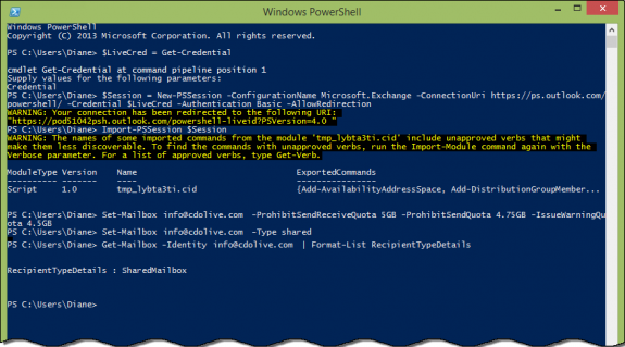 use PowerShell to convert a mailbox type