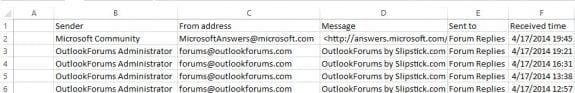 Write Outlook data to a spreadsheet